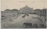 AK Halle an der Saale Bahnhof mit Pferdekutsche Straßenbahn 1913