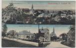 AK Niederfrohna b. Limbach Sachsen Ortsansicht mit Gasthof Kirche und Pfarrhaus Feldpost 1915