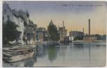 AK Calbe an der Saale Partie an der Saale mit Mühle und Booten 1921