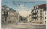 AK Leisnig in Sachsen Bismarckplatz mit Bahnhofstrasse Feldpost 1916