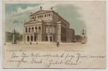 AK Litho Frankfurt am Main Das Opernhaus mit Menschen und Kutsche 1898