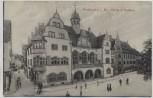 AK Freiburg im Breisgau Partie beim Rathaus mit Menschen 1910