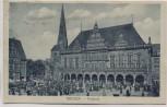 AK Bremen Rathaus mit Markttreiben viele Menschen 1920