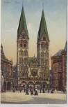 AK Bremen Dom mit Menschen und Strassenbahn 1910