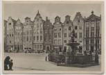 AK Danzig Giebelhäuser auf dem Langen Markt und Neptunbrunnen Gdańsk Polen 1940