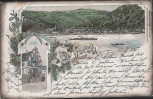 Litho Gruss aus Lorch Rheingau Hilgenhaus 1905