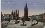 AK Halle an der Saale Marktplatz mit Marienkirche und Roter Turm Feldpost 1916