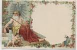 AK Patriotika Kaiser als Gott unter Adler mit Engel links Goldkante 1900 RAR