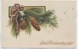 Präge-AK Patriotika Beste Weihnachtsgrüsse Glocke mit Zapfen 1910