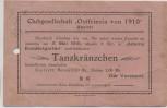 AK Aurich Clubgesellschaft Ostfrisia Einladung Adams Konzertgarten Tanzkränzchen 1919 RAR
