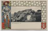 Präge-AK Blankenburg im Harz Regenstein Ritter mit Wappen 1900 Sammlerstück RAR