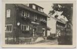 AK Foto Gruß aus Gießübel Thüringer Wald Gasthaus zum schwarzen Adler b. Schleusegrund 1954