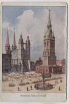 Künstler-AK Halle an der Saale Marktplatz Wessner-Collenbey Feldpost 1916