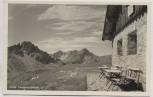 AK Oberstdorf Fiederepaßhütte mit Elfer- u. Zwölferkopf Allgäuer Alpen Hüttenstempel 1950