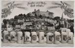 AK Foto Gruß aus der Bierstadt Kulmbach Krüge mit Burg 1960