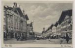 AK Bad Tölz Marktplatz mit Denkmal und Auto 1920