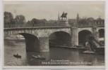 AK Foto Saarbrücken Alte Brücke mit Kaiser Wilhelm-Denkmal und Boote 1935