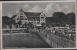 AK Ostseebad Glücksburg Kurhotel mit Menschen und Fahnen 1940