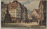 Künstler-AK Würzburg Vierröhrenbrunnen Steinzeichnung Wilhelm Greiner 1910