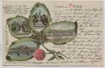 Kleeblatt Litho Gruss aus Pirna Denkmal Kaserne Totalansicht 1905