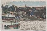 AK Litho Gruss aus Königsbrück Ortsansicht mit Kaserne 1913