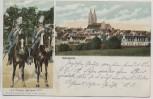 AK Oschatz Ortsansicht mit K.S. Ulanen Regiment Nr. 17 zu Pferd 1907 RAR