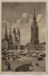AK Halle an der Saale Marktplatz am Markttag Landpoststempel Nehlitz 1937