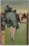 VERKAUFT !!!   Künstler-AK Frau auf Stange Gymnastik Humor 1920