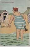 Künstler-AK Frau am Strand Krebs am Hintern Humor 1920