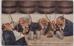 Künstler-AK Männer Bier trinkend Scherzkarte Fässer 1930