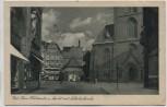 AK Kiel Obere Holstenstrasse Markt mit Nikolaikirche 1935