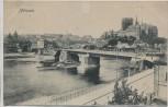 AK Meissen Brücke und Burg Sanierung Dampfer 1913 RAR