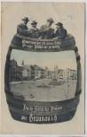 VERKAUFT !!!   AK Feucht-Fröhliche Grüsse aus Braunau in Böhmen Marktplatz Bierfass Männer mit Gambrinus Broumov Tschechien 1913 RAR