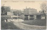 AK Hof Bayern Saale Schulhaus III Obere steinerne Brücke 1911 RAR