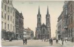 AK Hof Saale Bayern Altstadt Marienkirche viele Menschen 1907