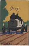Künstler-AK Hugo Bestehorn Rennwagen Magdeburg Feldpost 1914