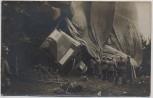 AK Foto Französisches Luftschiff zerstört Absturz mit Soldaten 1.WK 1915