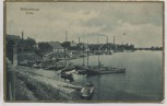 AK Wittenberge Hafen mit Fabrik Schiffe Goldrand 1915