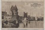 AK Stralsund Hafenpartie mit Lotsenwache 1921