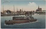 AK Stralsund Totalansicht mit Trajekt-Schiff 1920