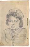 AK Feldpostkarte 1. Weltkrieg Bleistiftzeichnung Soldatenfrau Galizien 1918