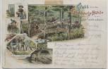 Litho Gruss von der Leichtweiss-Höhle bei Wiesbaden Räuberhauptmann Frau 1903