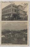 VERKAUFT !!!   AK Foto Scheidegg im Allgäu Ortsansicht mit Pension Daheim Bahnpost 1936 RAR