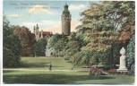 AK Leipzig Neues Gellertdenkmal und Blick nach dem neuen Rathaus 1910