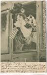 AK Frau mit Hut aus Zug lehnend O.Bluhm Auf Wiedersehen ! 1900