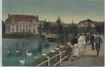AK Kiel Am kleinen Kiel mit Sparkasse viele Menschen Schwäne 1910