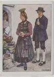 Künstler-AK M. E. Fossel Vorarlberg Bregenzwald Mann und Frau in Tracht Österreich Ostmärkische Volkstrachten VDA Nr. 6 1935