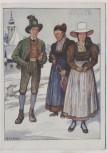 Künstler-AK M. E. Fossel Aussee Grundlsee Mann und Frauen in Tracht Österreich Ostmärkische Volkstrachten VDA Nr. 3 1935
