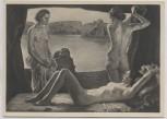 VERKAUFT !!!   Künstler-AK Ernst Liebermann Am Gestade Akt 3 Frauen München Haus der Deutschen Kunst HDK 317 1935