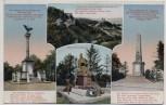 AK Mehrbild Saaleck b. Bad Kösen Kriegerdenkmal Corpsstudenten Bismarck-Denkmal 1910